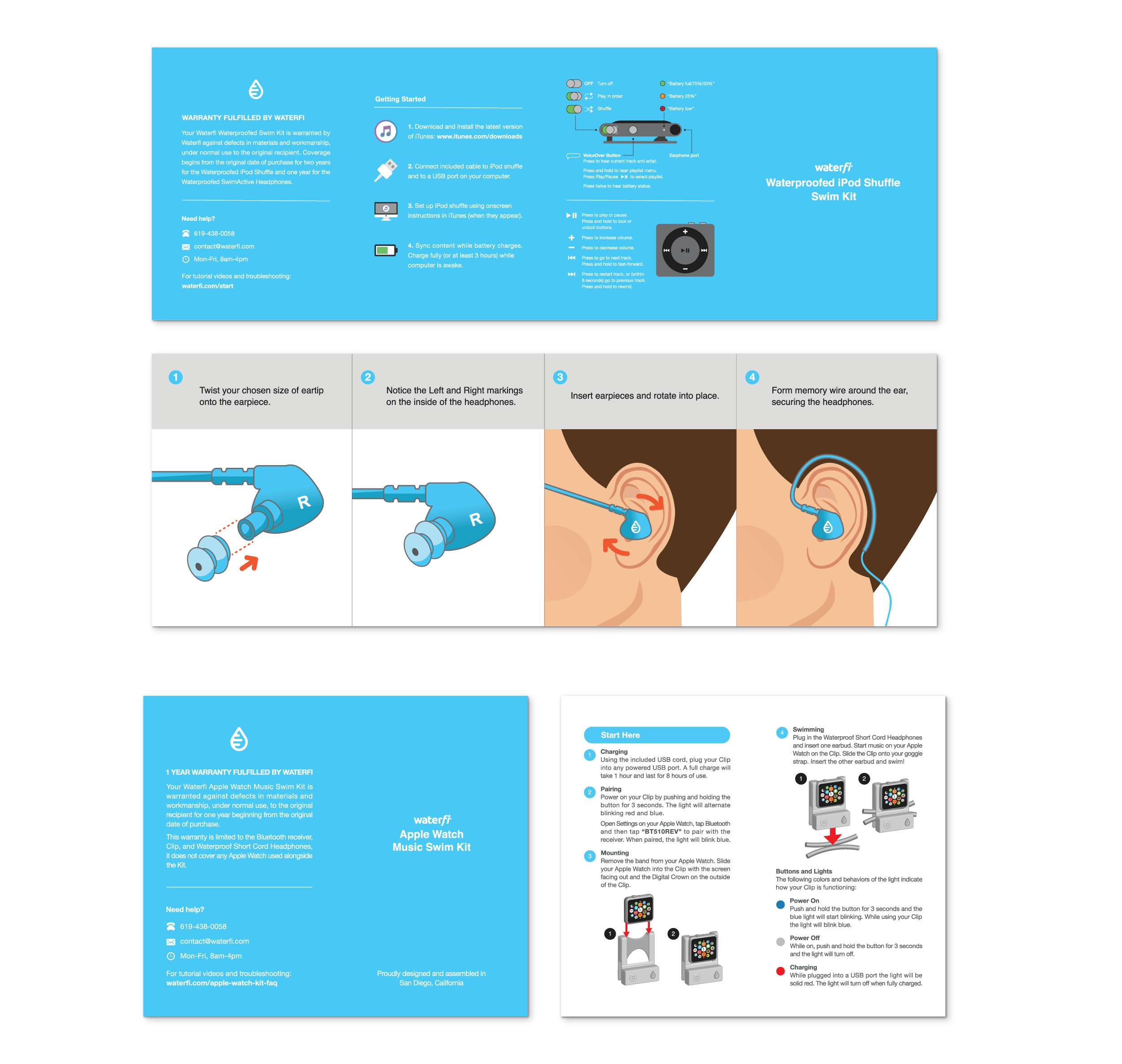 Front and back designs for some of the Waterfi product faqs.